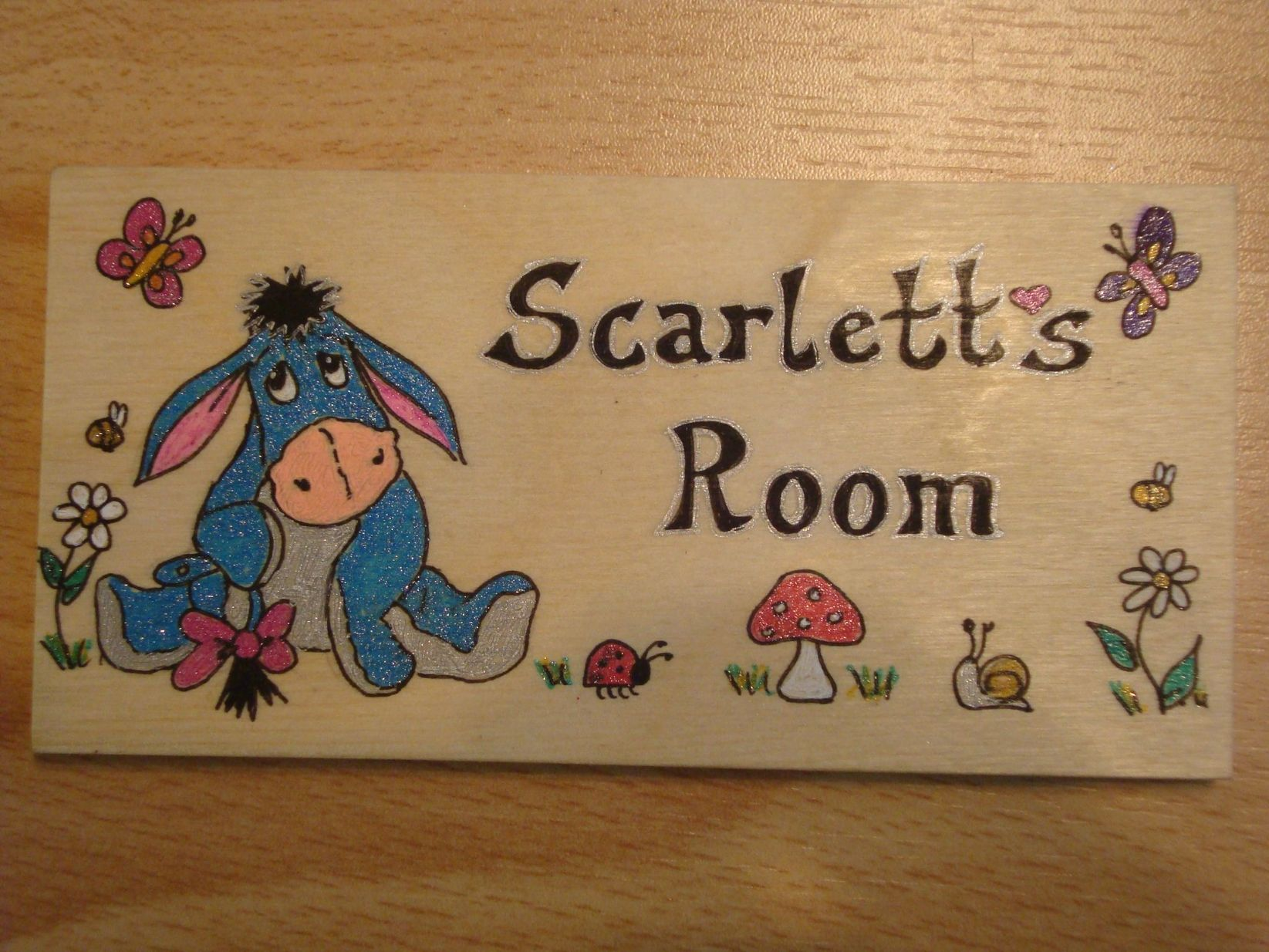 Eeyore Handmade Wooden Personalised Childrens Bedroom Door Sign Plaque Unique One Of A Kind