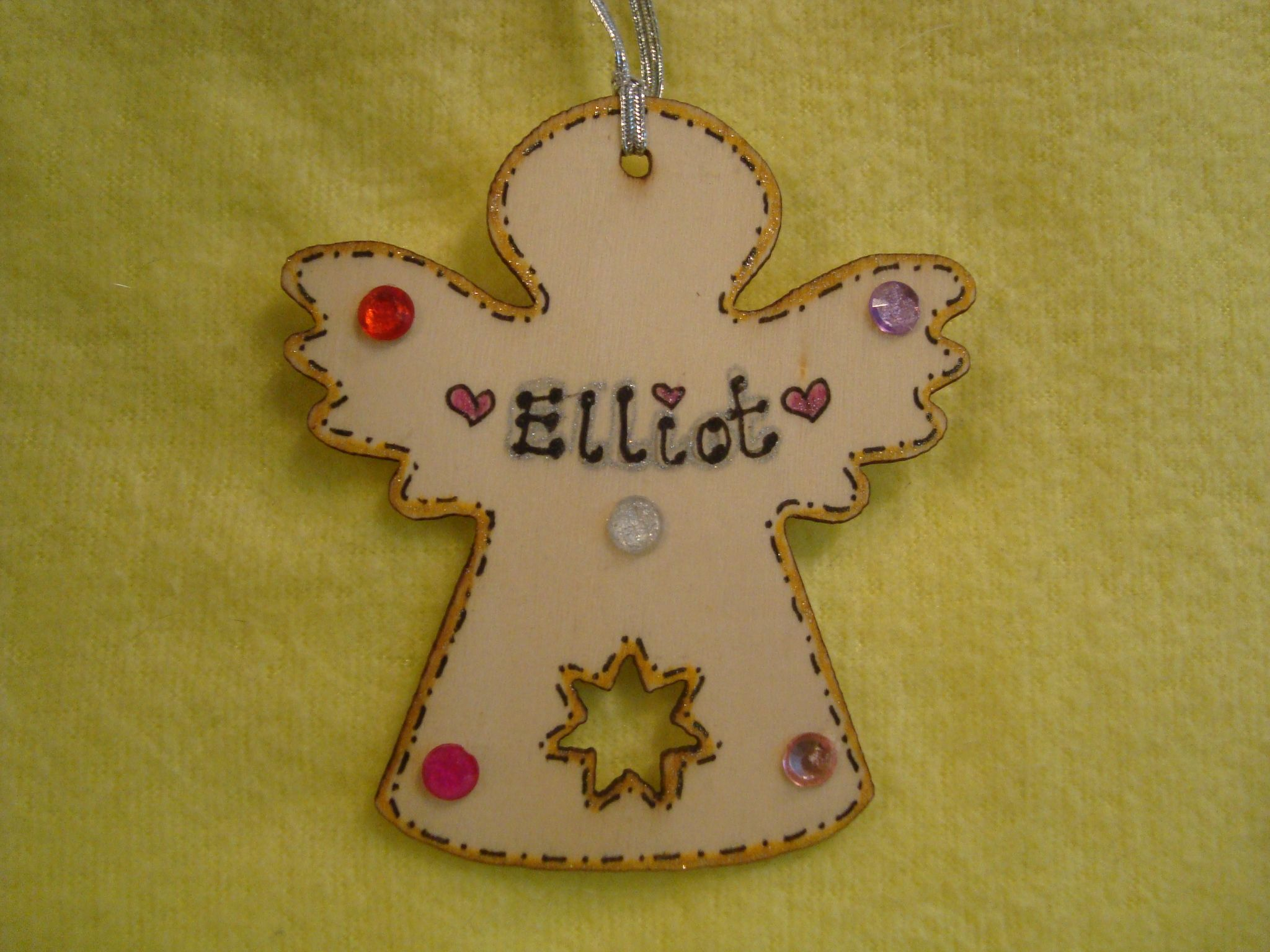 Angel Shaped Christmas Tree.2017 Personalised Wooden Fairy Angel Shaped Christmas Tree Hanger With Gem Decorations Any Name