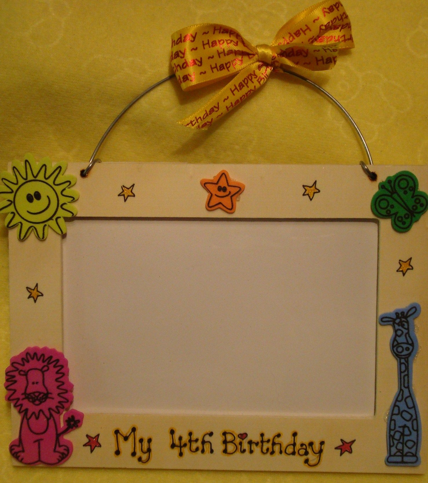 My 4th Birthday Wooden Photo Frame for 6 x 4 inch picture Jungle ...