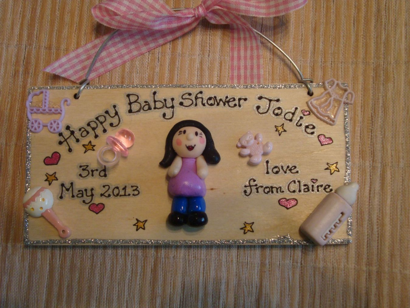 Personalised 3d Baby Shower Sign Wooden Plaque Keepsake Any Phrasing Unique Gift Handmade To Order For Mum To Be