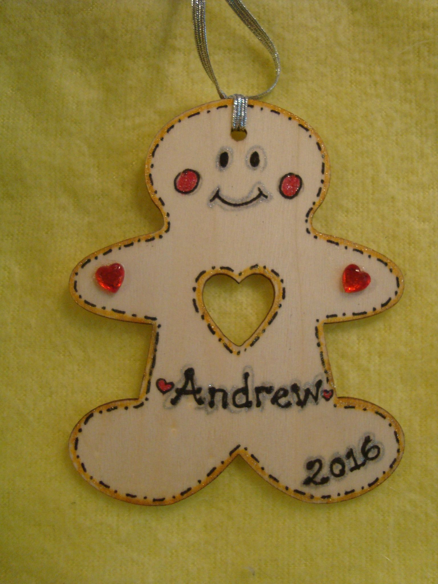 Personalised Wooden Gingerbread Man Boy Christmas Tree Hanger