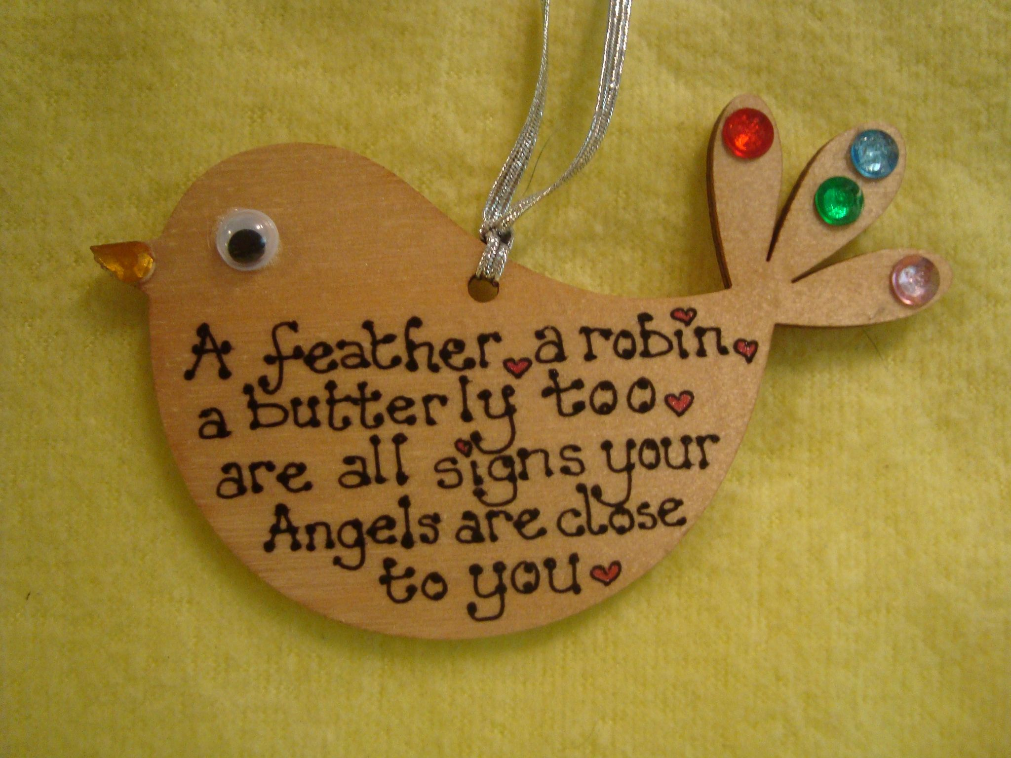 Wooden Christmas Tree Hanger Decoration A Feather A Robin A Butterfly Too Are All Signs Your Angels Are Close To You